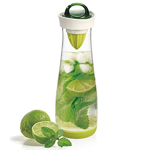 bremermann Getränkeflasche mit Infuserstab und Zitruspresse, 1,1 Liter - tropfsicher grün