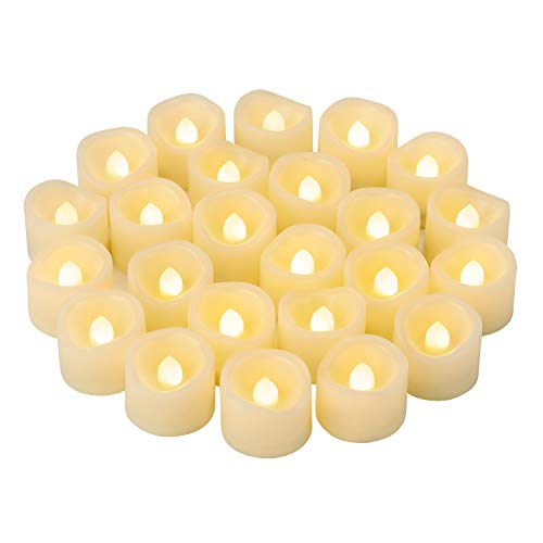 24 PCS LED Flameless Flickering Tea Lights Votive Candle Battery Operated/Electric Flicker LED Tealight Bulk Fake Candles for Halloween Christmas Wedding Party Decorations etc.(Warm White)
