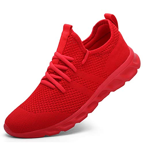 Damyuan Women's Sneakers Athletic Running Shoes Walking Shoes Lightweight Gym Mesh Comfortable Trail Running Shoes Red