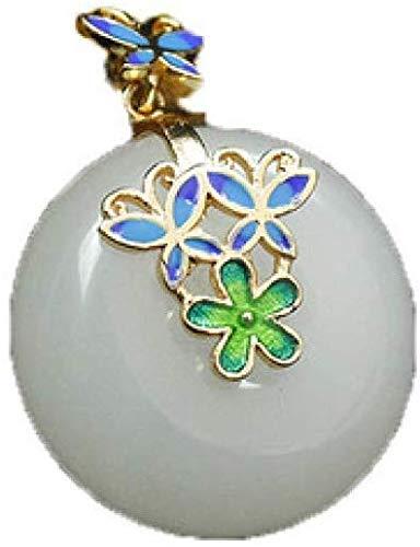 ZSML Colgante de Collar de Jade Blanco Natural, Collar femenino, joyería colgante de Jade de seda Dorada