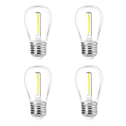 Youson, lampadine a LED da 24 V E27, confezione da 4 pezzi, in acrilico, infrangibili, lampadine di ricambio per patio esterno, luce bianca calda