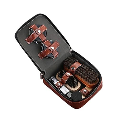 NJBYX Professional Leather Shoes Care Tools 9 Pieces, Horse Hair Brush, Black Shoe Polish, Sponge Brush, Shoe Polisher, Shoehorn