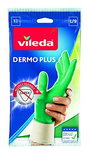 Vileda Dermo Plus/Sanft & Schonend Gummihandschuhe, latexfrei, idealer Tragekomfort, Größe L, 1 Paar
