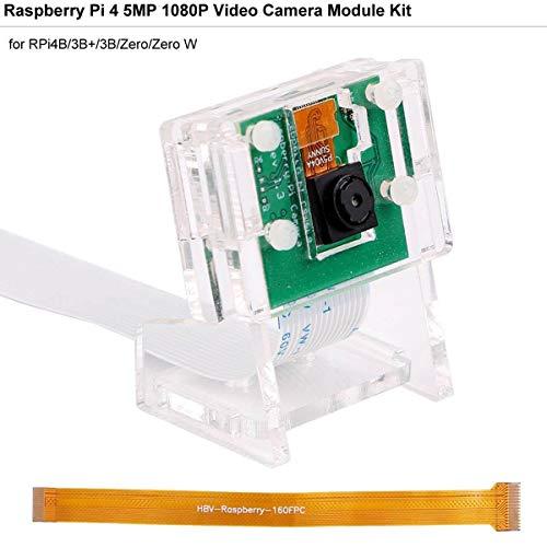 MakerHawk Raspberry Pi Camera 5MP Mini Camera Video Module 5 Megapixel 1080p 65 Gradi per Raspberry Pi3B + / 3B / 2B + / 2B / Zero/Zero W con Supporto in Acrilico e Cavo Flex FFC