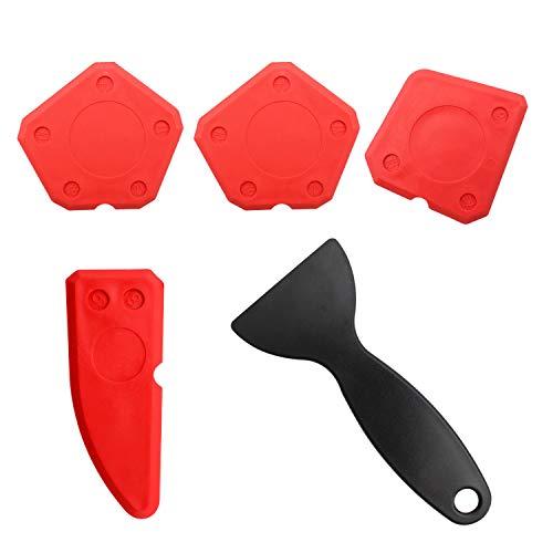 LERANXIN 5 Pezzi di Kit professionale per fughe, Kit di Raschietto in Silicone, Strumento per Fughe, per Sigillanti per Tutte le Stanze da Cucina e Cornici Spatole per Silicone