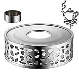 Xinmeng - Fornellino scalda tè in acciaio inox, scalda caffè in acciaio INOX, per diverse teiere (argento)