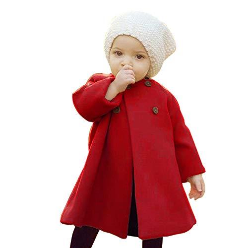 Luoluoluo mantel baby meisje 6 maanden tot 5 jaar wollen mantel met knopen lange jas warm gewatteerde jas herfst winter omhang babykleding meisjes dunne jassen windjas regenjas