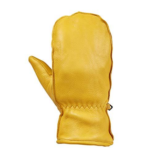 Saranac Premium Leather Grain Deerskin Mitten, Gold, 2X-Large
