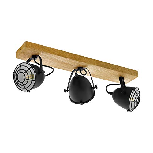 Scandinave Plafonnier Vivica /à intensit/é variable en Marron en Bois e lampe plafonnier /à 4 lampes, E14, A++ pour Salon /& Salle /à manger de Lampenwelt a Plafonnier en bois