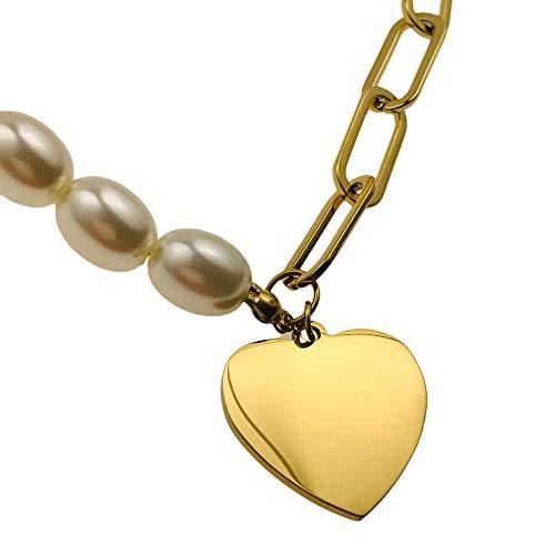 Collar famoso AISADI 20090708/14 para un regalo, perlas en forma de corazón, chapado en oro, antialérgico de acero inoxidable quirúrgico BLUEBERRY TTM XUPING MOONRIVER STAINLESS STAINLESS SUNLIGHT