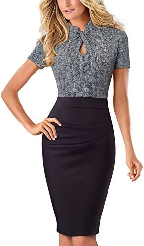 HOMEYEE Women s Short Sleeve Business Church Dress B430 6 Gray product image