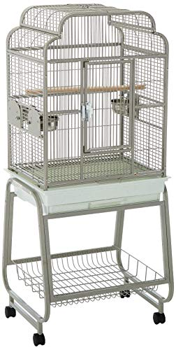 """A&E Cage 782217 Platinum Open Victorian Top with Plastic Base Bird Cage, 22"""" x 17"""""""
