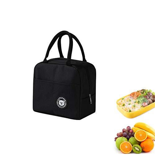 Youkii Panier Repas,Sac Isotherme Repas,Lunch Bag Portable,Sac à Lunch Isolé pour Enfants/Femmes/Hommes (Style d'ours -Noir, 23*21*13cm)