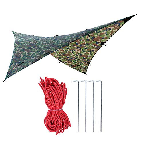 Yosoo Outdoor Portable Rain Fly Camping Tarp, Rainproof Hammock Tent Hammock Tarp, Large Canopy Provides Ideal Shelter for Your Camping Hammock or Tent Camouflage 108 x 108(Camouflage#2)