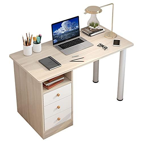 LYJL Escritorio Simple, Escritorio de Madera Moderno, Mesa de Estudio de computadora portátil de PC con Almacenamiento Escritorio de estación de Trabajo fácil de Montar para Oficina en casa,Beige
