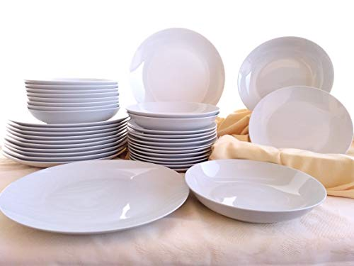 La Mediterranea - Vajilla Porcelana 18 Piezas 6 Servicios Blanca