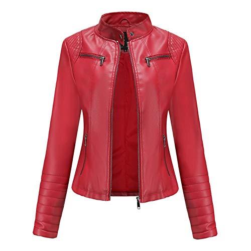 Yazidan - Chaqueta de motorista para mujer, con cremallera, clida y ajustada, de piel, para exterior, abrigo rojo M