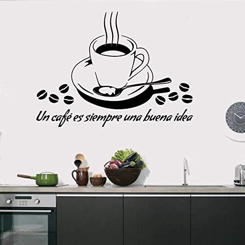 Taza de café café té arte de la pared vinilo cocina restaurante taberna planta cactus etiqueta de la pared