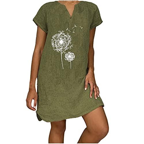 Zomerjurk voor dames, knielang, katoen en linnen, A-lijn, mini-jurk, elegante korte mouwen, plus size, effen strandjurk…
