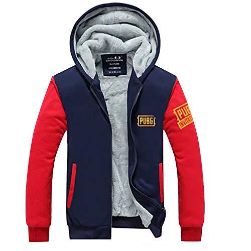 Herren Winter Hoodie Verdicken Zip Jacke Warmer Mantel Plus Samt Sweatshirt PUBG Spiel Top Kleidung für Erwachsene Kostüm (Rot, M)
