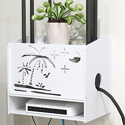LYFANG Aufbewahrungsbox für Drahtlose Router aus Verdicktem Blech Wandmontierte WLAN-Aufbewahrungsbox Hohle Wi-Fi-Router-Aufbewahrungsbox Geeignet für Büro Schlafzimmer 29,7 * 19,5 * 26 cm