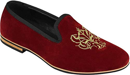 El Oro Bordado Floral Cresta De Imitación De Cuero del Ante Logo Slip Xposed Los Hombres En El Vestido De Los Zapatos De Los Holgazanes