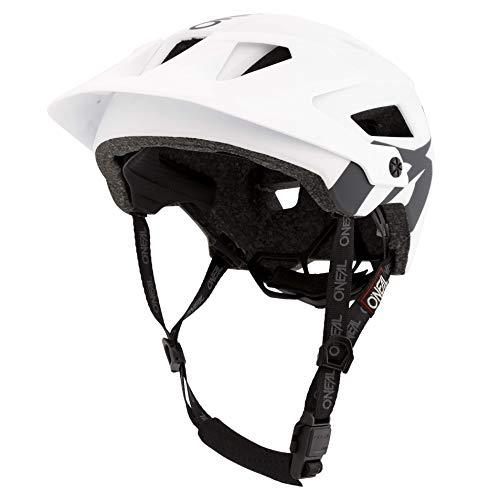 O'NEAL | Casco de Mountainbike | Enduro Aperturas de ventilación para refrigeración, Lavable con Almohadilla, Norma de Seguridad EN1078 | Casco Defender Solid | Adultos | Blanco Gris | Talla XS M