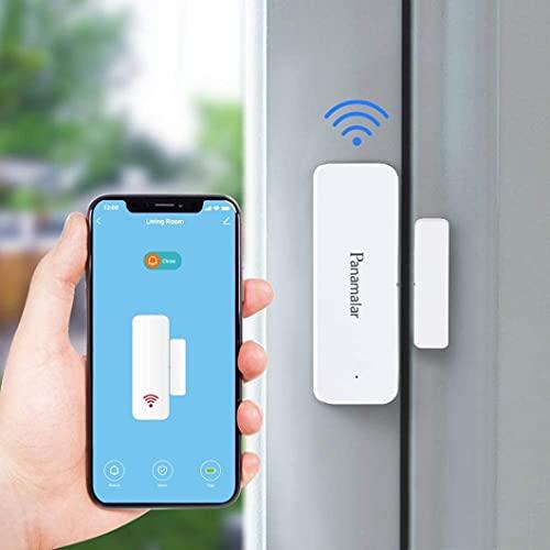 Panamalar Wifi Sensor de Ventana de Puerta, detección inteligente de puerta abierta o cerrada, enviar alerta al teléfono, funciona con Alexa Google Home, accesorios inteligentes con la escena
