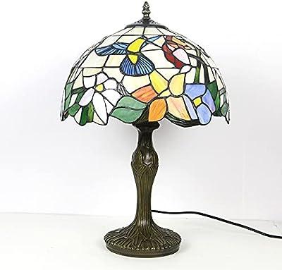 Tiffany Style Lampes de table Terrail Glasseshades de verre Sun Flower Art Déco Lampe de bureau en aluminium, E27 LINGZHIGAN