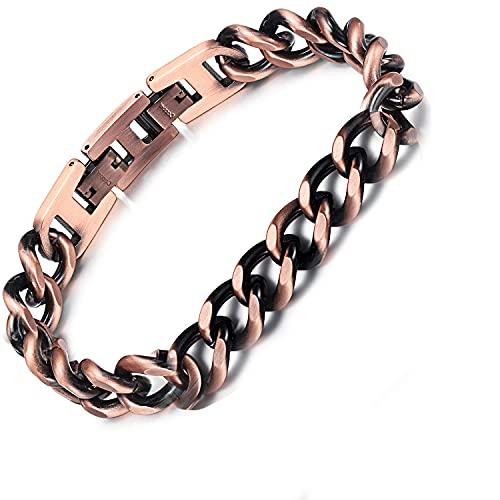 Pulsera de cadena de cobre puro 99,9% para hombre y mujer, con doble fila, para terapia magnética, alivio del dolor, para artritis, fácil de ajustar, pulsera de regalo de salud (mujer2 cobre)