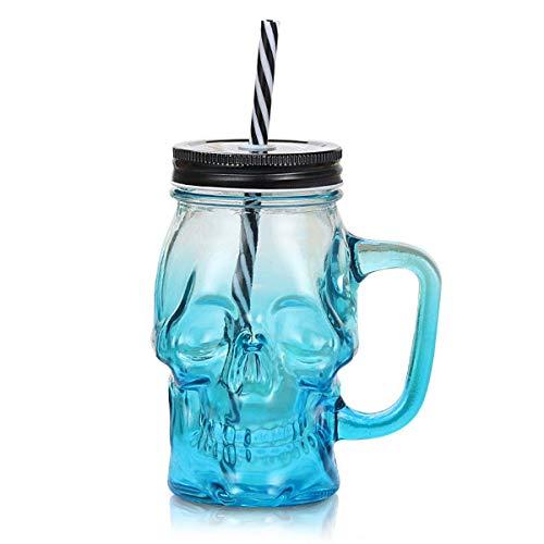 ASTARC Taza de cerveza de cristal con diseño de calavera, color degradado creativo, botella de jugo, botella de bebida transparente con asa de paja con tapa de pajita, diseño de cóctel (azul)