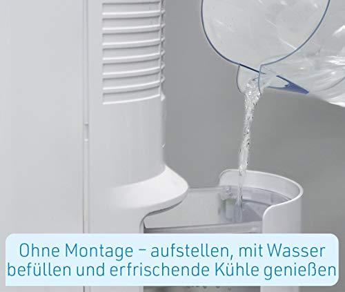 LIVINGTON ChillTower – Klimagerät mit Wasserkühlung – mobiles Klimagerät mit 3 Kühlstufen – Verdunstungs-Kühler ohne Abluftschlauch für 12h Kühlung Dank 1,5 L Tank - 4