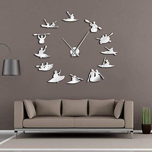 KKLLHSH Relojes de Pared Pegatina,Relojes Modernos DIY,Canotaje Rafting Decoración 3D Reloj, Ideal para Oficina Hotel Restaurante-27 Inch