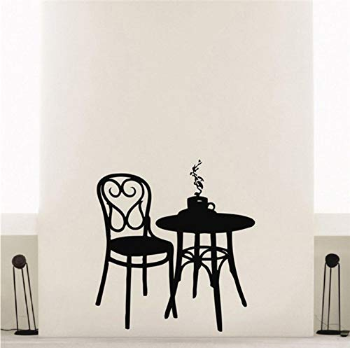 Zfkdsd Café Vinyl Wandaufkleber Kaffee Tee Cafe Restaurant Wanddekoration Tisch Stuhl Wandbild Kunst Wandaufkleber 56 * 87 Cm