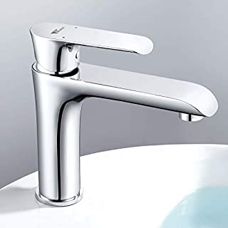 Amzdeal Grifo de Baño - Mezclador de lavabo | Grifo de agua con 121 mm de Altura de Salida de agua y Cartucho de Cerámica | Mezclador de Lavabo alto Para Cocina y Baño | de 59 Latón | Cromo (B07F3WMD19) | Amazon price tracker / tracking, Amazon price history charts, Amazon price watches, Amazon price drop alerts