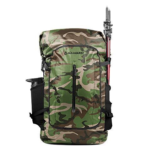 Aqua Quest Riparia Rucksack - 100% wasserfester 45L Packsack Daypack - Hochleistungsrucksack für Jagd, Angeln, Militär und Notfall - Camo/Tarnung