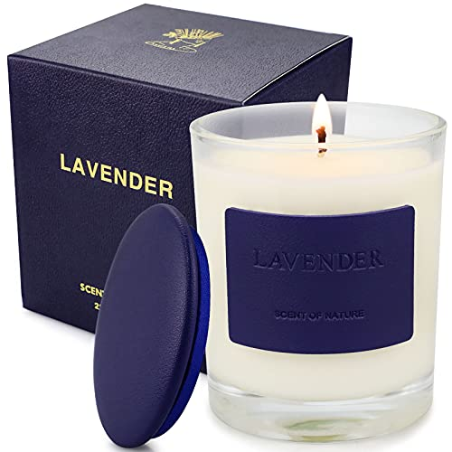 Lavender Candle, Scented Candles for Home 7.8oz 50 Hours Burn, Soy Wax Organic Candle Aromatherapy Candle Jar Candles for Birthday, Candles Gifts for Women, Relaxation & Stress Relief