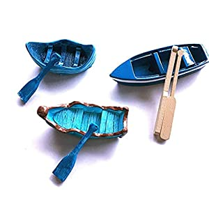 imikeya mini boat and paddles toys miniature dollhouse boat with oars canoe model figurines mini fairy garden accessories blue 6pcs