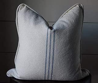 Grain Sack Farmhouse Stripe Pillow Cover | Piped Edge