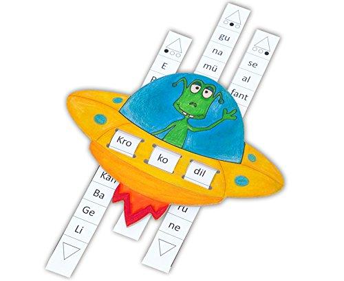 Betzold 43277 - Lernspiel Deutsch Silben-UFO Selbstgestalten, Kopiervorlage - Sprachförderung Lesen Lernen DAZ-Material