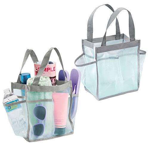 mDesign Juego de 2 cestas de baño con asas – Ideales como organizadores de cosméticos o bolsos de playa – Cestas con asas y 6 compartimentos – verde menta/gris