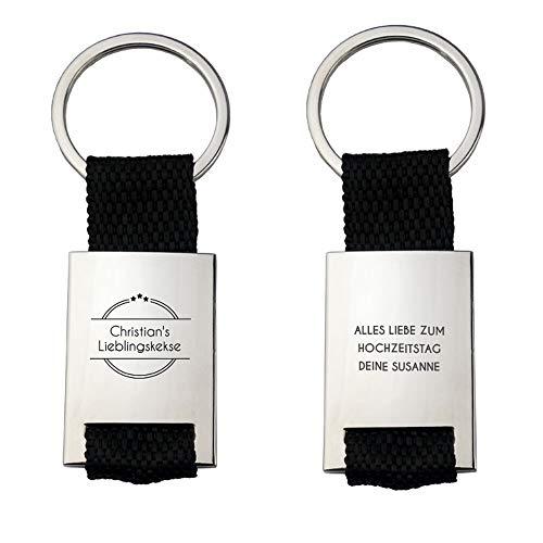 Geschenke.de Personalisierter Schlüsselanhänger mit Gravur für Männer - Metall-Anhänger mit Wunschtext
