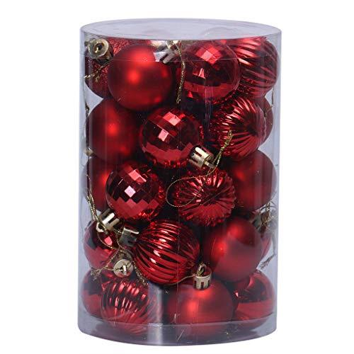 Weihnachtskugeln Glitzer Hell Matt Plastik Weihnachten Kugeln Uni Bordeaux Glänzend Christbaumkugeln Anhänger Draussen Christmas Deko 34PC