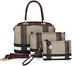 Mia K Collection 3-PC Set, Shoulder Handbag, Crossbody for Women, Wristlet Purse PU Leather Satchel Bag Pocketbook Red