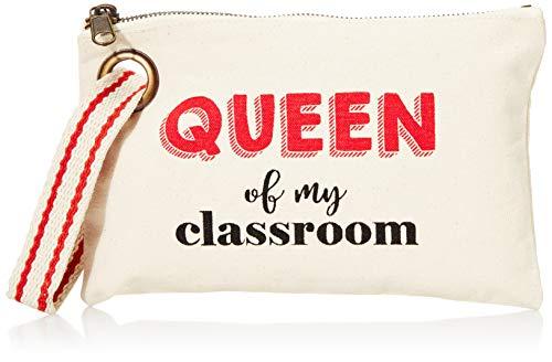 """Mud Pie Women's Queen Teacher Canvas Pouch, 6"""" x 9"""""""