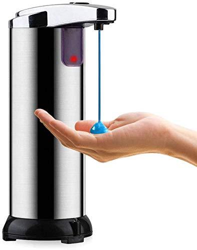 Sunloud dispensador automático de gel hidroalcohólico manos libres de acero inoxidable, dispensador de jabón con sensor infrarrojo con depósito de 250 ml y 3 niveles de dosificación