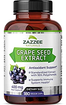 Zazzee Grape Seed Extract 20,000 mg Strength 180 Vegan Capsules 95% Polyphenols  Proanthocyanidins  Potent 50 1 Extract 400 mg per Capsule 6 Month Supply Non-GMO and All-Natural