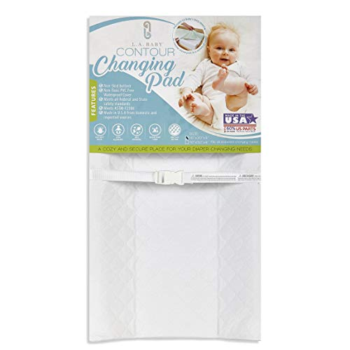 """LA Baby Contoured Waterproof Diaper Changing Pad, 30"""" with Easy to Clean Quilted Cover - Made in USA. Non-Skid Bottom, Safety Strap, Fits All Standard Changing Tables/Dresser Tops, White"""