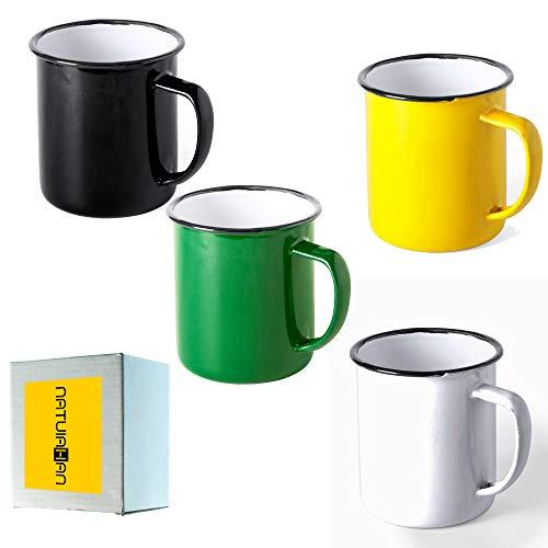 Natuiahan 4 Tazas de Metal Esmaltado. Set de 4 Tazas de Diseño Vintage. Acabado con Imperfecciones. Negro, Amarillo, Blanco y Verde.