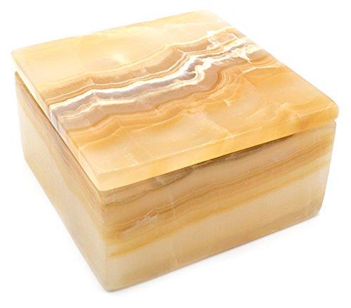 HBAR Aufbewahrungsbox aus leuchtendem Bernstein, quadratisch, 15,2 cm breit (2,2 kg), geschnitzt aus echtem nordamerikanischen Onyx Aragonit – The Artisan Mined Serie von hBAR